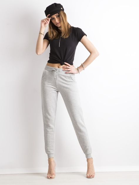 Spodnie dresowe z bawełny szare                              zdj.                              4