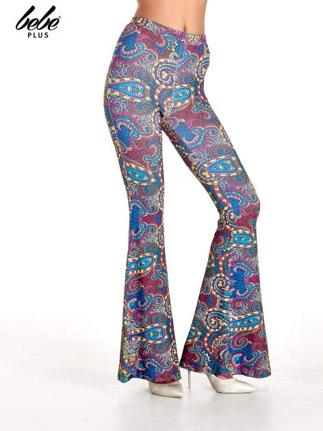 Spodnie dzwony we wzór paisley                                  zdj.                                  1
