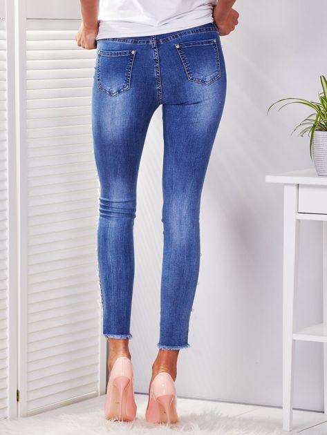 Spodnie jeansowe niebieskie z perełkami                              zdj.                              2