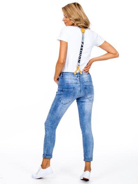 Spodnie jeansowe niebieskie z szelkami                              zdj.                              2
