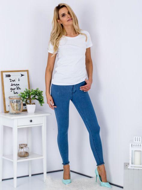 Spodnie rurki high waist ze stretchem niebieskie                                  zdj.                                  4