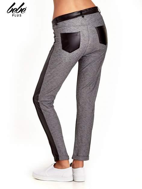 Spodnie two tone ze skórzanymi wstawkami                                  zdj.                                  4