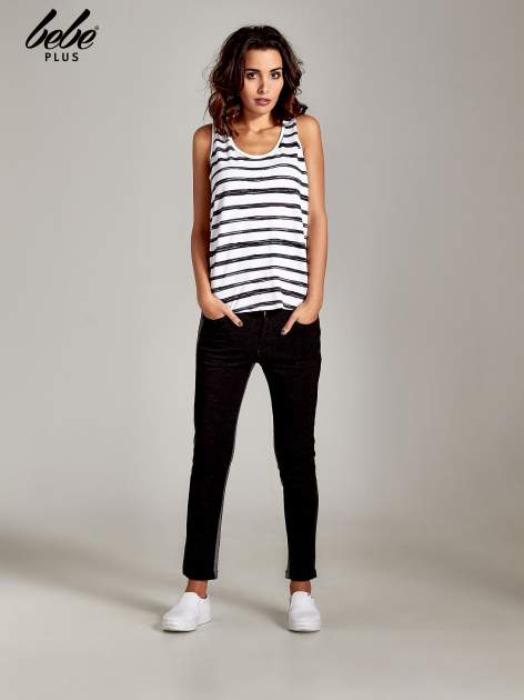 Spodnie two tone ze skórzanymi wstawkami                                  zdj.                                  9