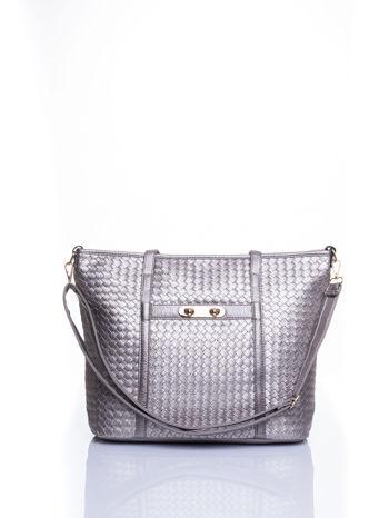 Srebrna pleciona torba shopper bag ze złotym detalem                                  zdj.                                  1