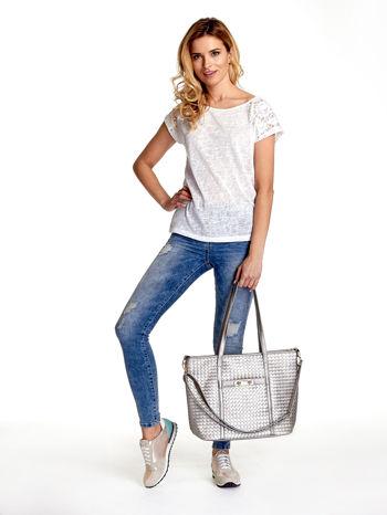 Srebrna pleciona torba shopper bag ze złotym detalem                                  zdj.                                  2