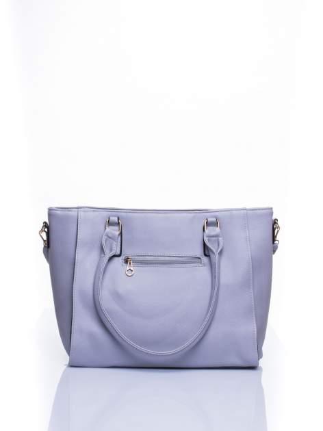 Srebrna torba shopper bag z odpinanym paskiem                                  zdj.                                  2