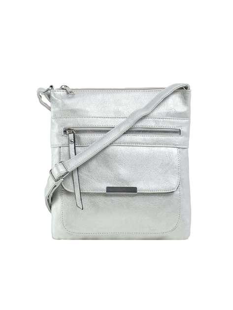 Srebrna torba ze skóry ekologicznej z kieszeniami