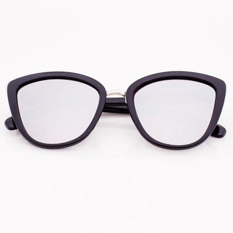 Srebrne Lustrzane Damskie Okulary przeciwsłoneczne CAT EYE                              zdj.                              1