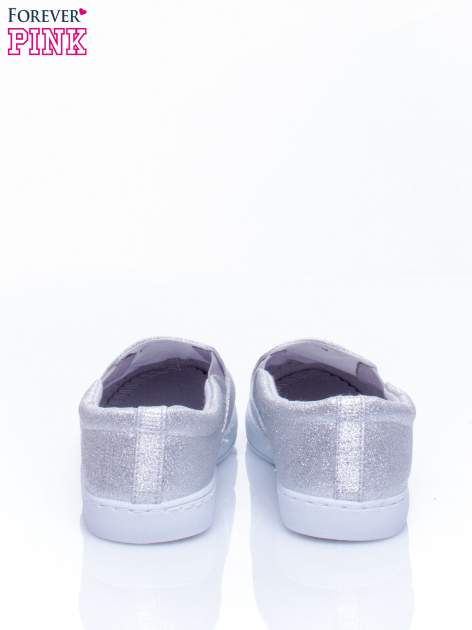 Srebrne buty sliponki glitter                                  zdj.                                  4