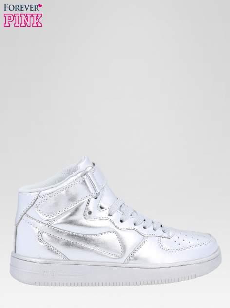 Srebrne buty sportowe za kostkę na grubej podeszwie