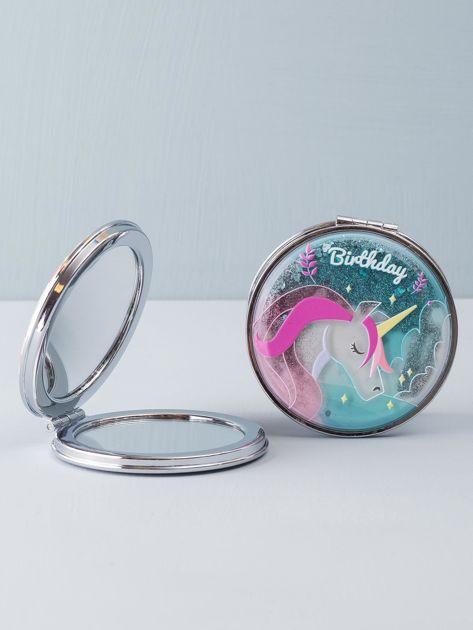 Srebrne okrągłe lusterko kosmetyczne