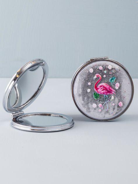 Srebrne okrągłe lusterko z brokatem