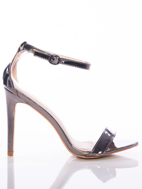 Srebrne sandały Vinceza na szpilkach zapinane w kostkach                               zdj.                              1