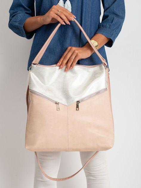 Srebrno-różowa torba z ekoskóry                              zdj.                              1