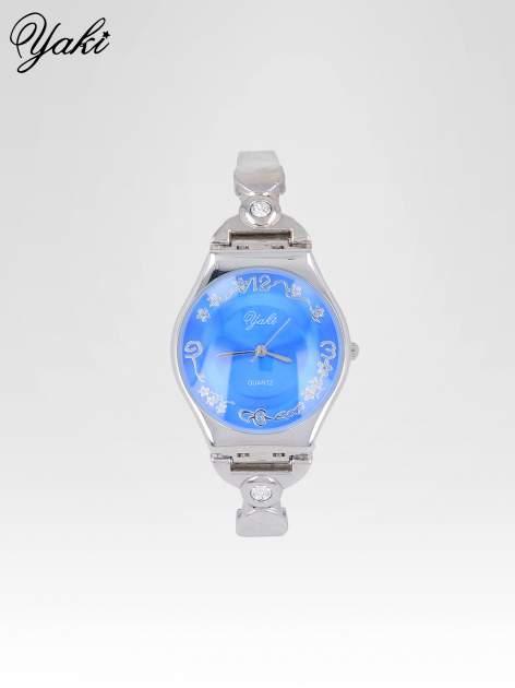 Srebrny biżuteryjny zegarek damski z niebieską tarczą