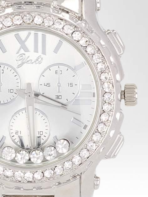 Srebrny zegarek damski na bransolecie z cyrkoniami na kopercie                                  zdj.                                  6
