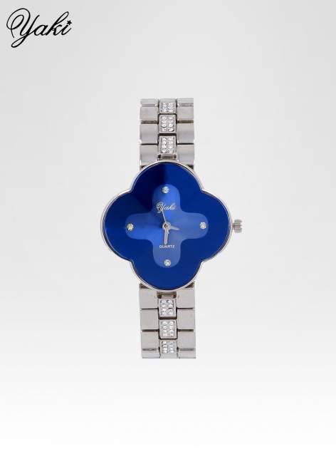 Srebrny zegarek damski na bransolecie z niebieską tarczą koniczyną                                  zdj.                                  1