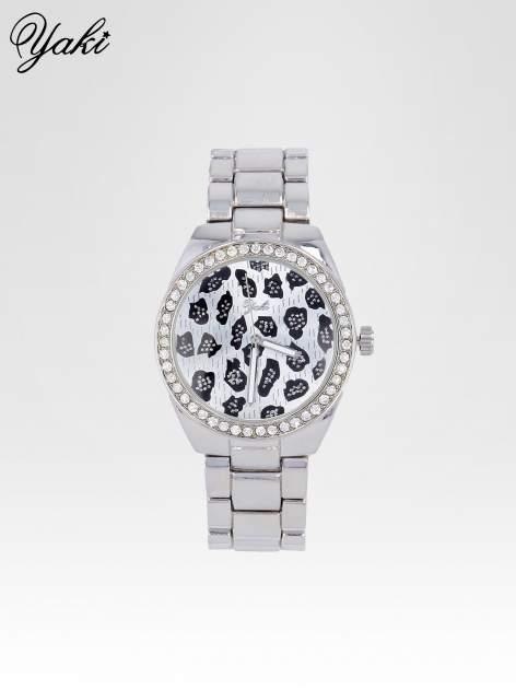 Srebrny zegarek damski na bransolecie z panterkową tarczą