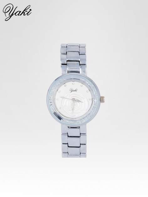 Srebrny zegarek damski na bransolecie z różą na tarczy