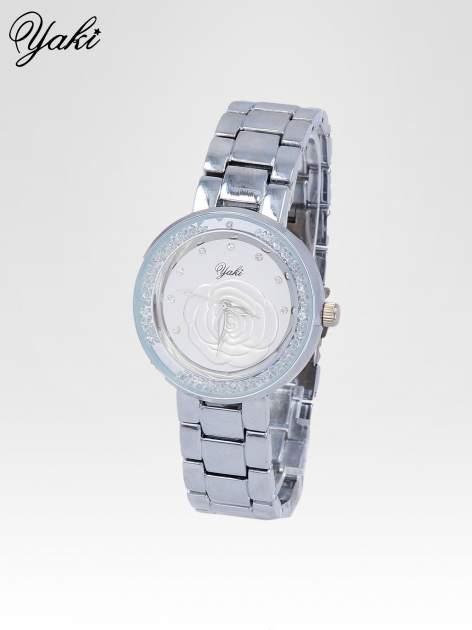 Srebrny zegarek damski na bransolecie z różą na tarczy                                  zdj.                                  2