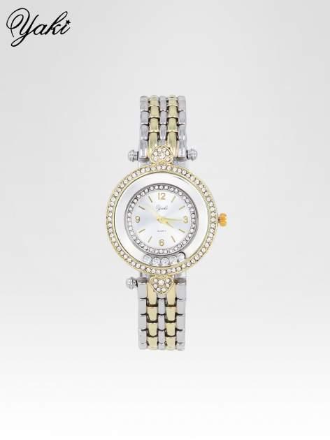 Srebrny zegarek na bransolecie z cyrkoniowym serduszkiem