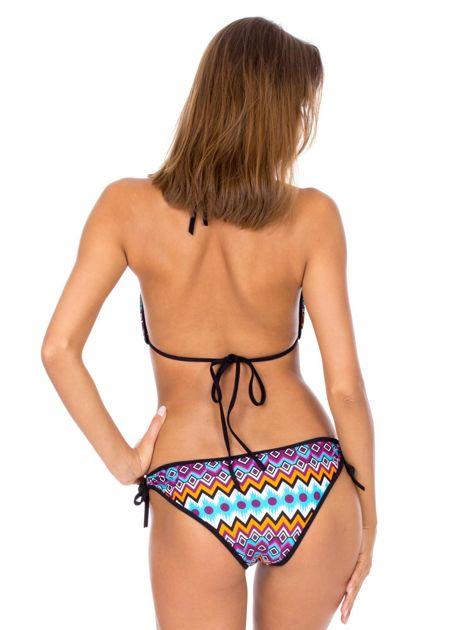 Strój kąpielowy wiązane bikini w kolorowe geometryczne wzory                              zdj.                              3