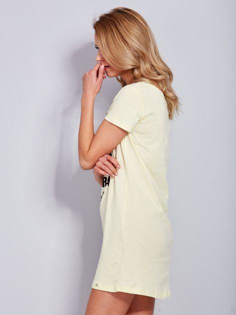Sukienka bawełniana z napisami jasnożółta                                  zdj.                                  5