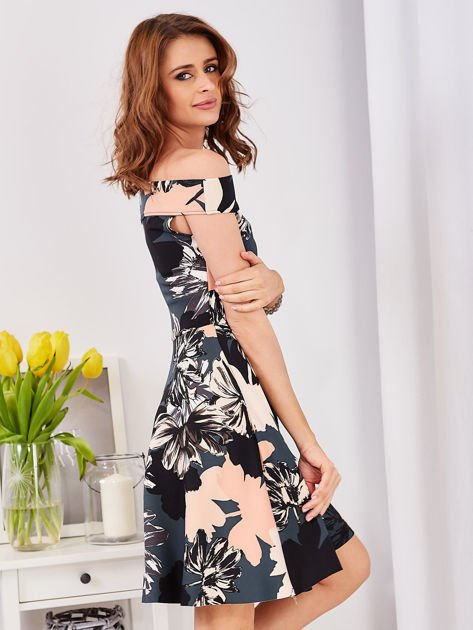 Sukienka ciemnozielona z motywem kwiatowym                                  zdj.                                  3