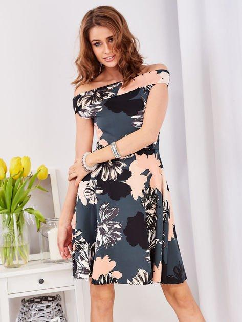 Sukienka ciemnozielona z motywem kwiatowym                                  zdj.                                  1