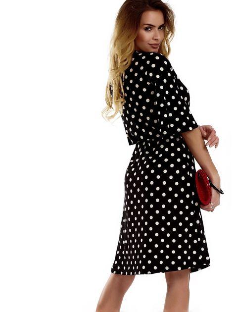 Sukienka czarna w grochy                                  zdj.                                  2