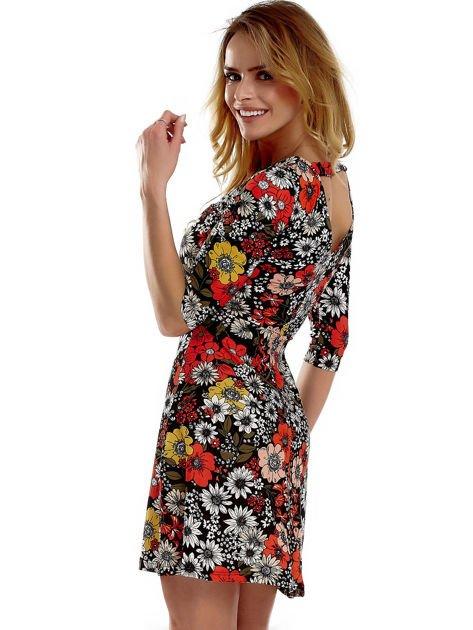 Sukienka czarna w kwiaty                              zdj.                              2