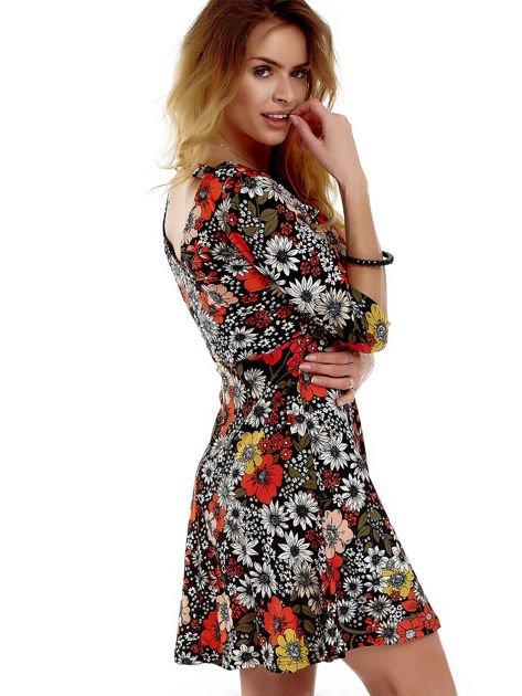 Sukienka czarna w kwiaty                              zdj.                              3