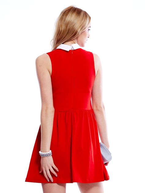 Sukienka czerwona z kołnierzykiem                              zdj.                              2