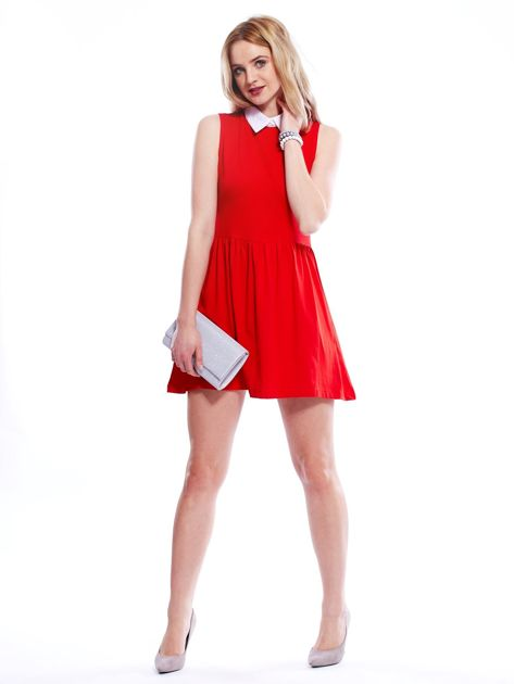 Sukienka czerwona z kołnierzykiem                              zdj.                              6