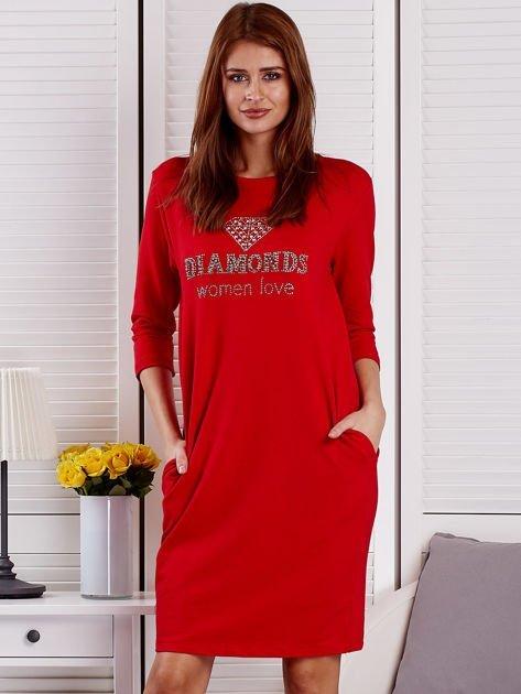 Sukienka damska czerwona z diamentem                              zdj.                              1
