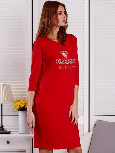 Sukienka damska czerwona z diamentem                                  zdj.                                  5