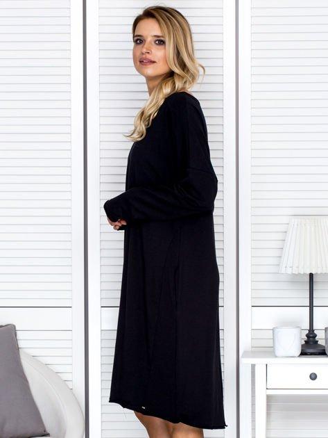 Sukienka damska dresowa o luźnym kroju czarna                                  zdj.                                  5