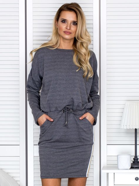 Sukienka damska dresowa z troczkami ciemnoszara                              zdj.                              1