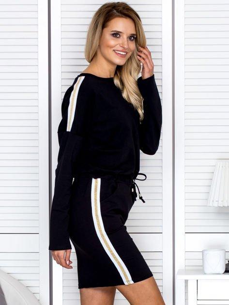 Sukienka damska dresowa z troczkami czarna                              zdj.                              5