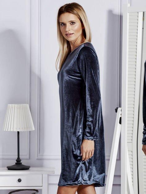 Sukienka damska welurowa z kieszeniami ciemnoszara                              zdj.                              5