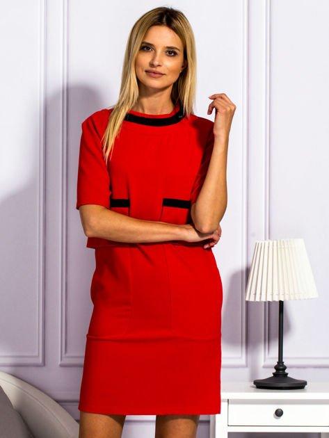 Sukienka damska z kieszeniami czerwona                                  zdj.                                  1