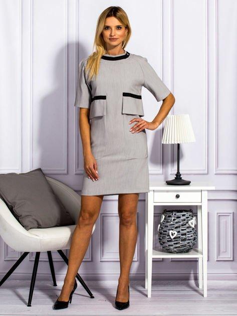 Sukienka damska z kieszeniami jasnoszara                                  zdj.                                  4
