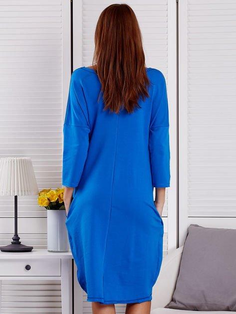 Sukienka damska z napisem z dżetów niebieska                              zdj.                              2
