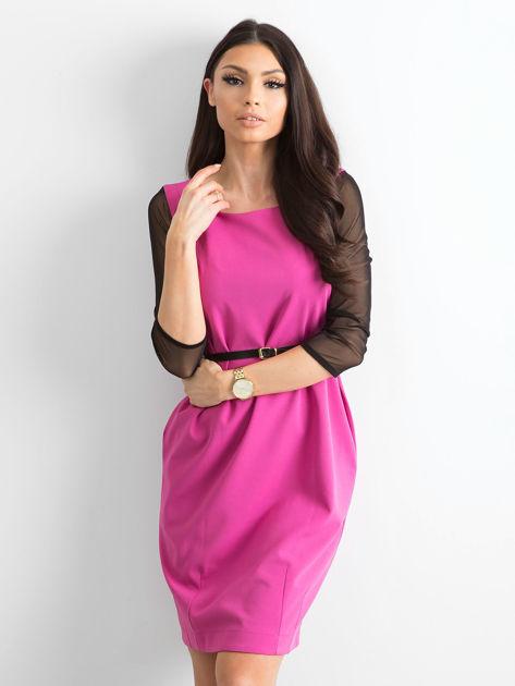 Sukienka damska z transparentnymi rękawami różowa