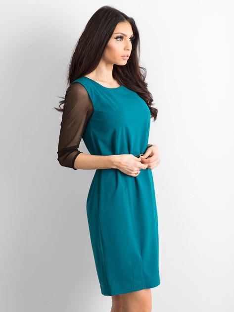 Sukienka damska z transparentnymi rękawami zielona                              zdj.                              3