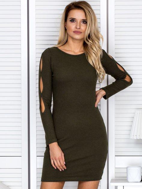 Sukienka damska z wycięciami na rękawach w prążek khaki                              zdj.                              1