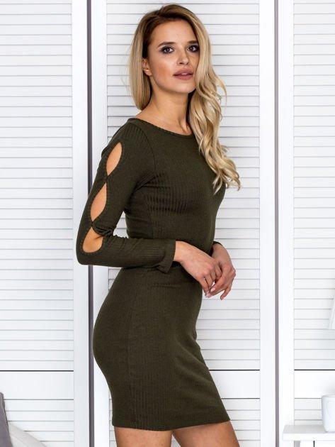 Sukienka damska z wycięciami na rękawach w prążek khaki                              zdj.                              3