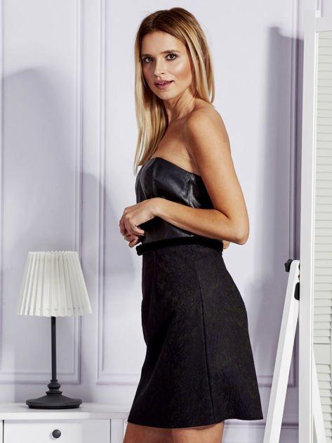 Sukienka damska ze skórzanym modułem i koronką czarna                              zdj.                              3