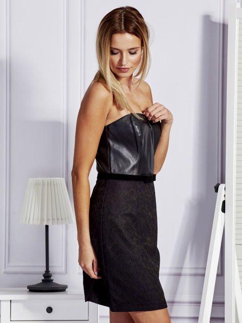 Sukienka damska ze skórzanym modułem i koronką czarna                              zdj.                              5