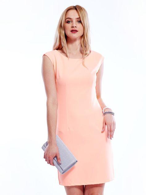 Sukienka fluo pomarańczowa z wiązaniem z tyłu                              zdj.                              1